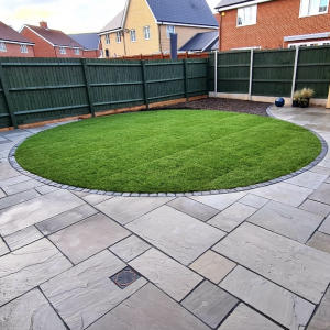 new lawn and paving